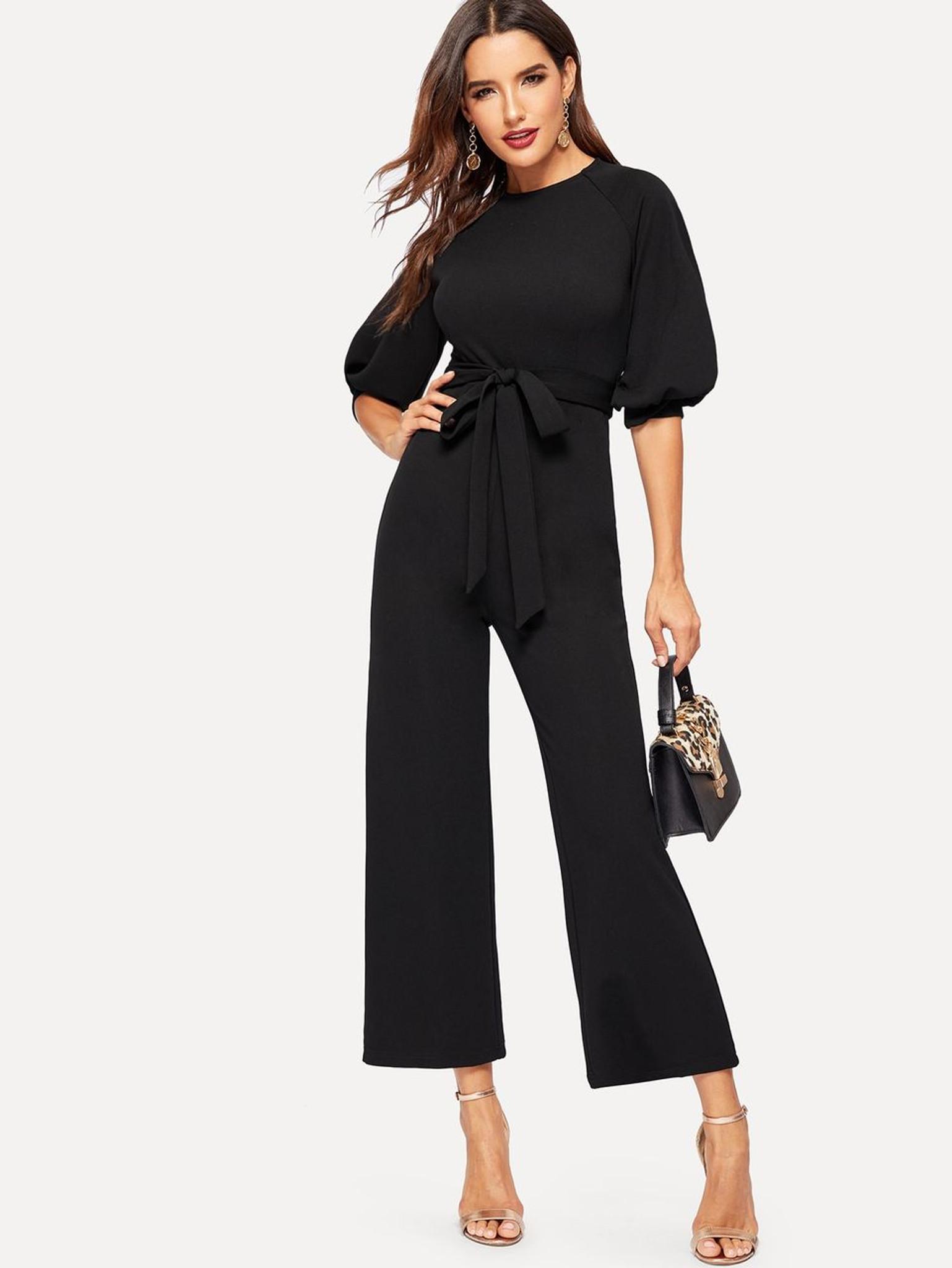 85d7ea3cc8c Fifth Avenue Women s Lantern Sleeve JMS53 Jumpsuit - Black