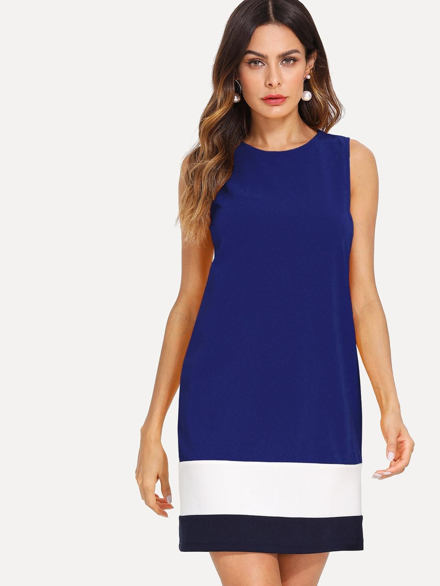 Royal Blue Colour Block Dress