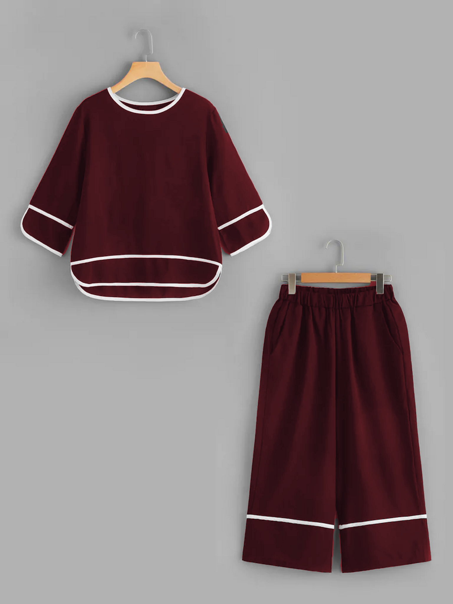Fifth Avenue Contrast Binding Top and Culotte Pants 2 Piece Set TPS34 - Maroon