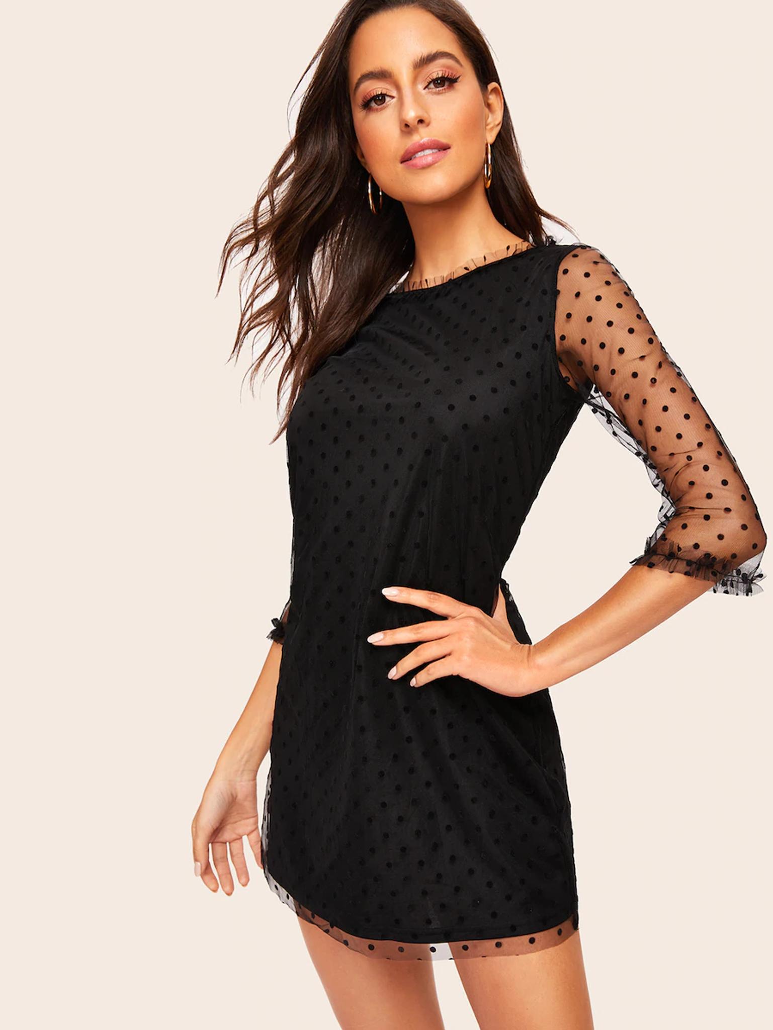 Fifth Avenue Women's UVA1232 Polka Mesh Dot Overlay  Tunic Dress - Black