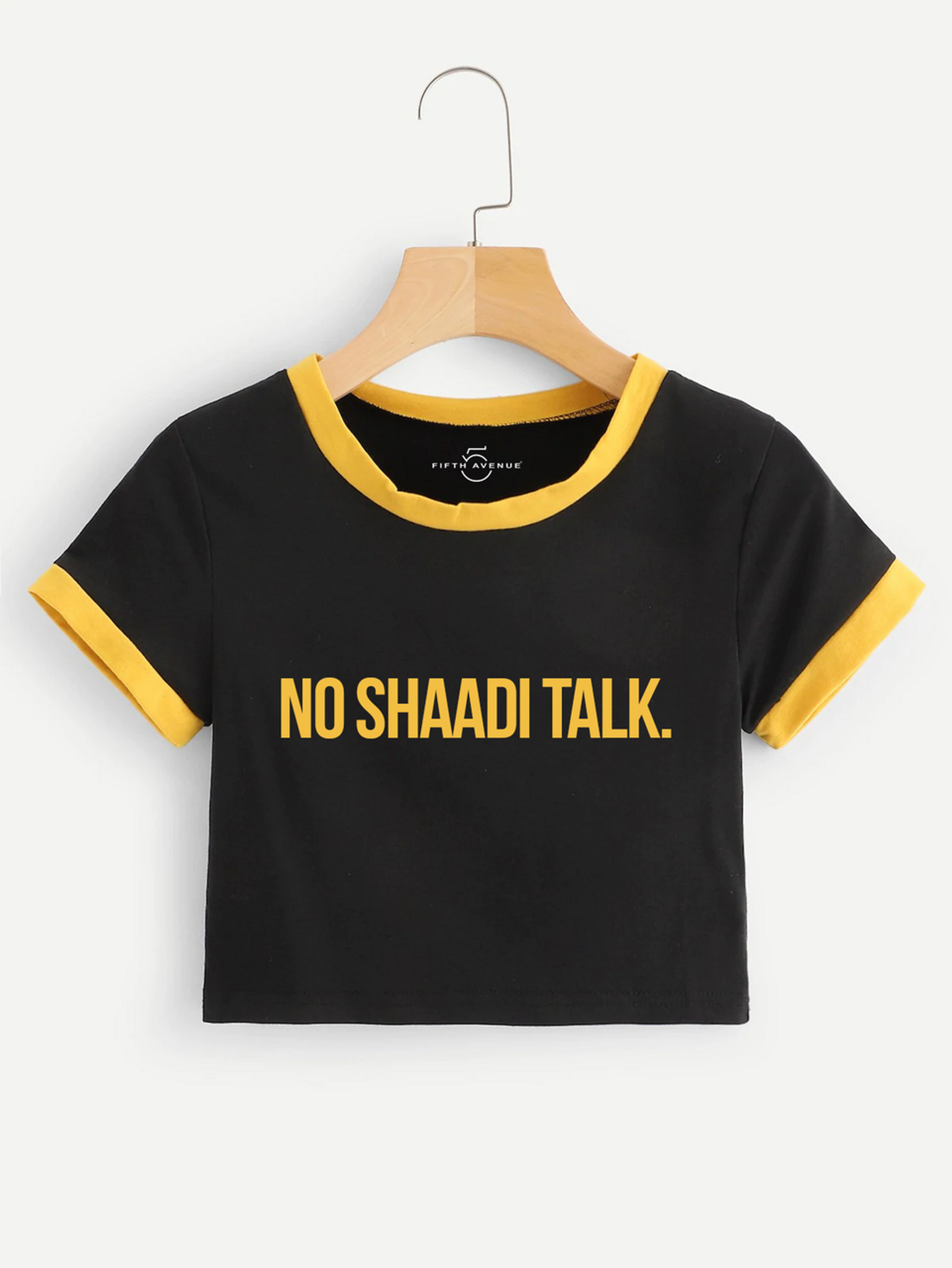 Fifth Avenue Women's STS57 No Shaadi Talk Print Crop Ringer T-Shirt - Black and Yellow