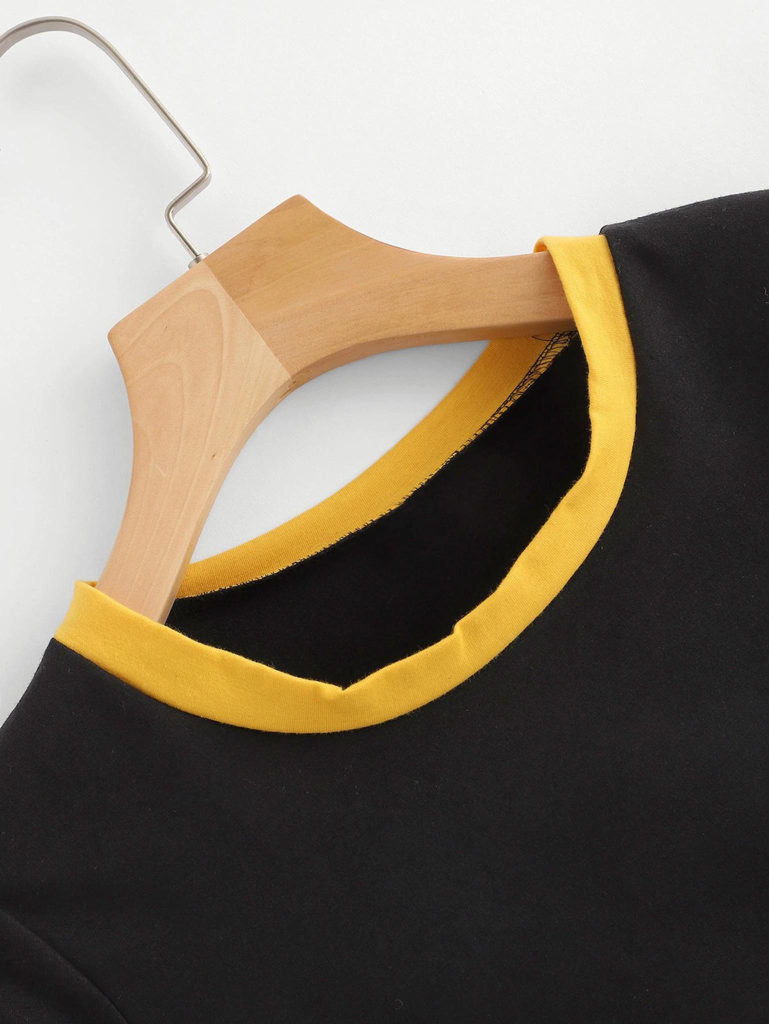 Fifth Avenue Women's STS57 Shirt Nahin Soch Print Crop Ringer T-Shirt - Black and Yellow