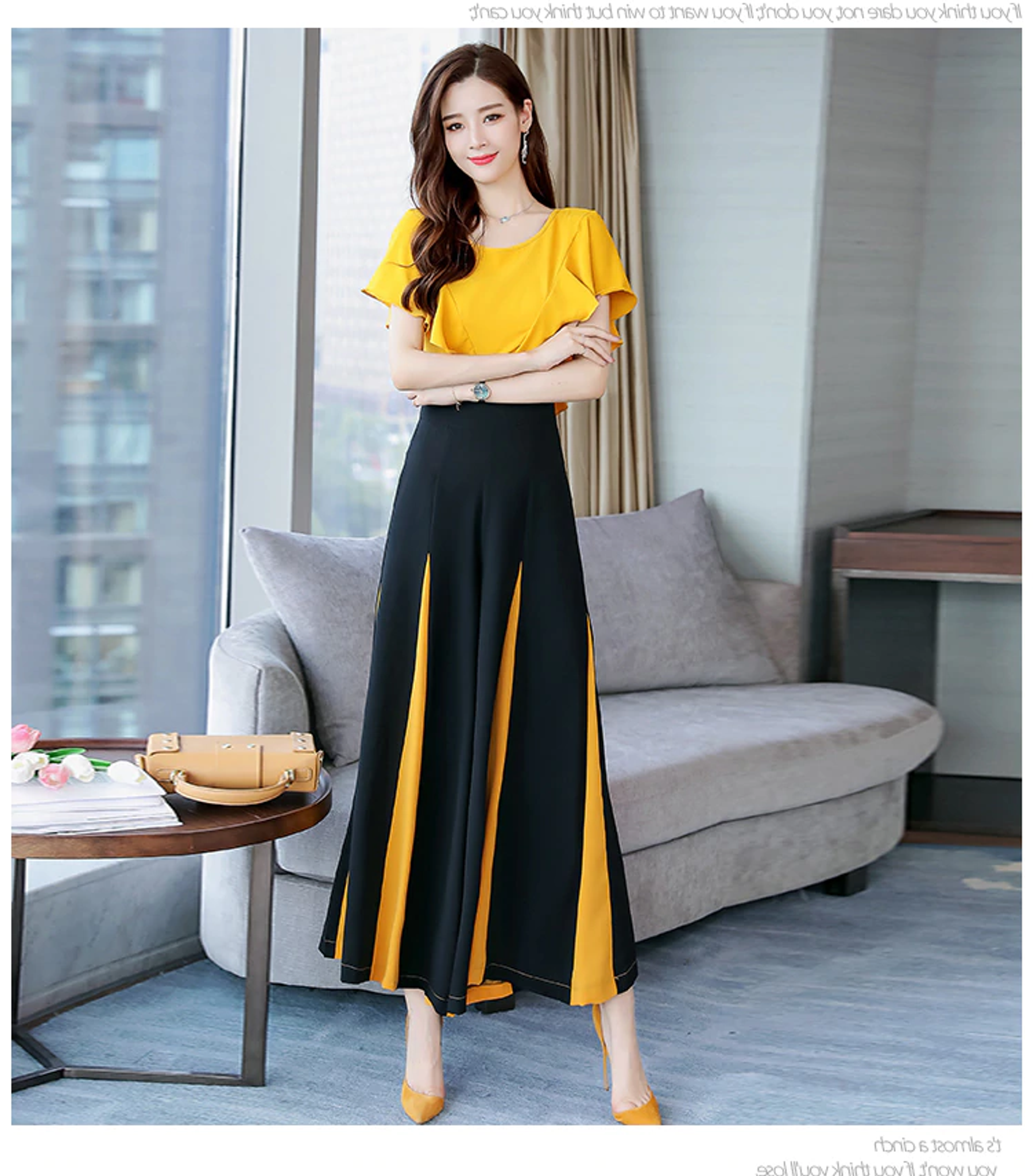 Fifth Avenue Flutter Detail Top and Contrast Panel Pants 2 Piece Set TPS89 - Black and Yellow