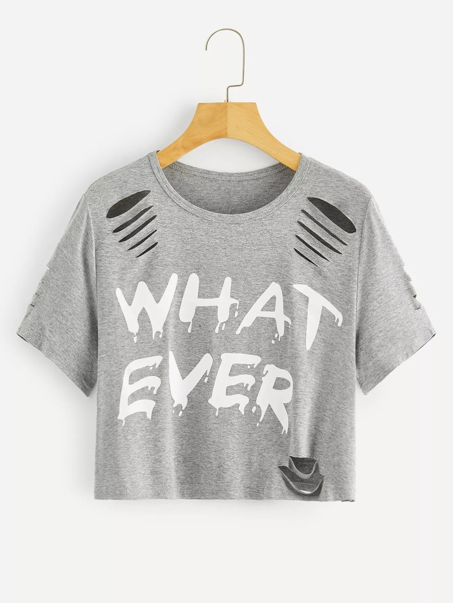 Fifth Avenue Women's STS67 Ladder Ripped Whatever Print T-Shirt - Grey