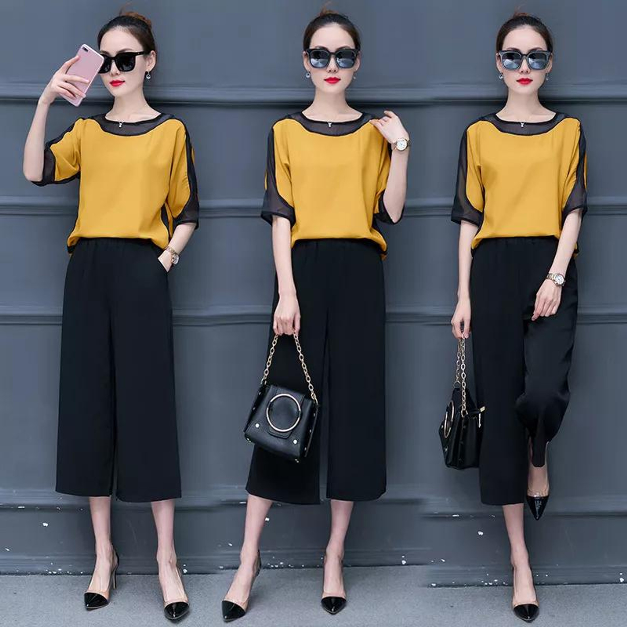 Fifth Avenue Contrast Mesh Panel Top and Pants 2 Piece Set TPS121 - Yellow and Black