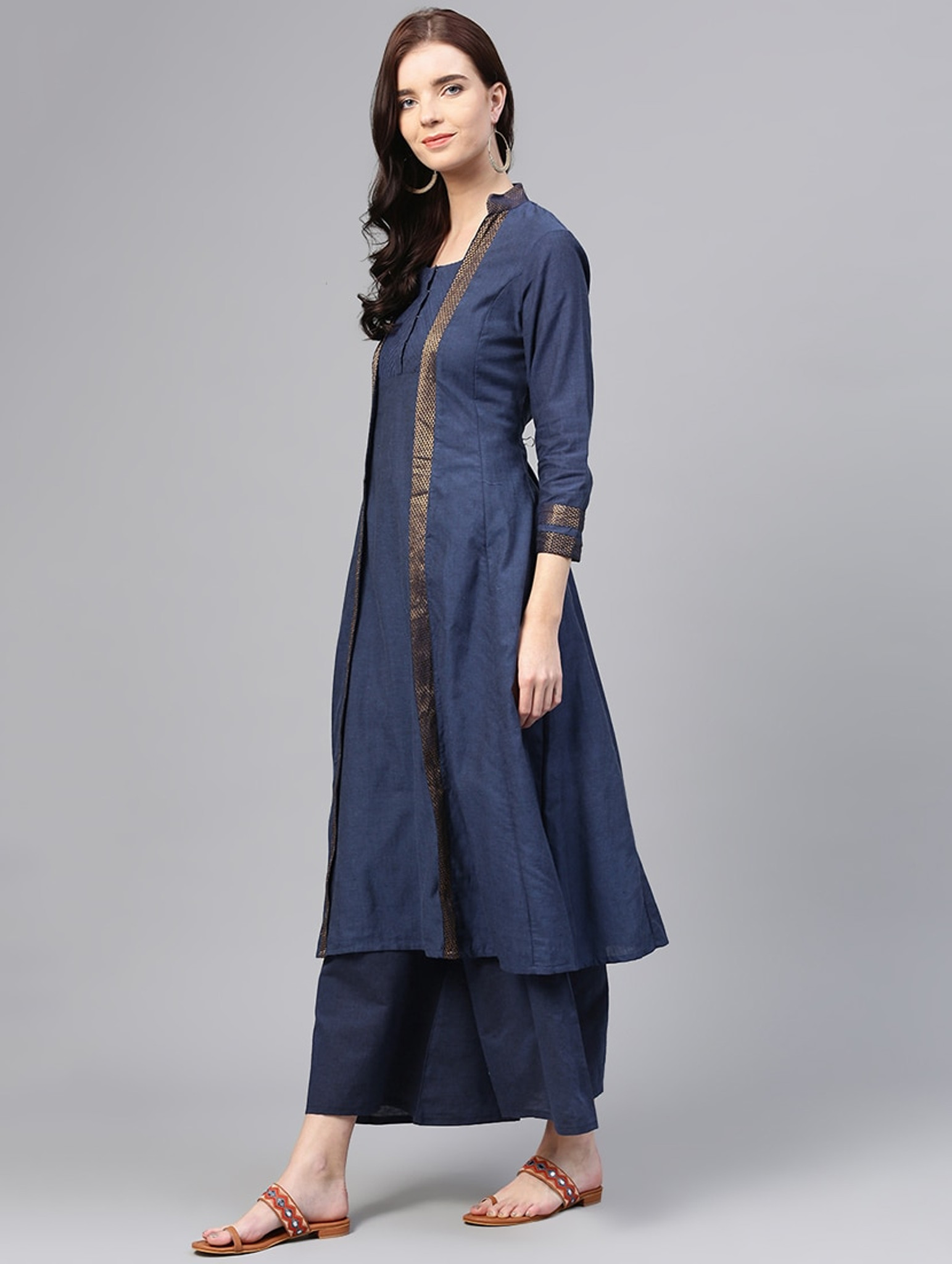 Fifth Avenue Women's TPS126 Cotton Lace Detail Kurti and Palazzo Set - Blue