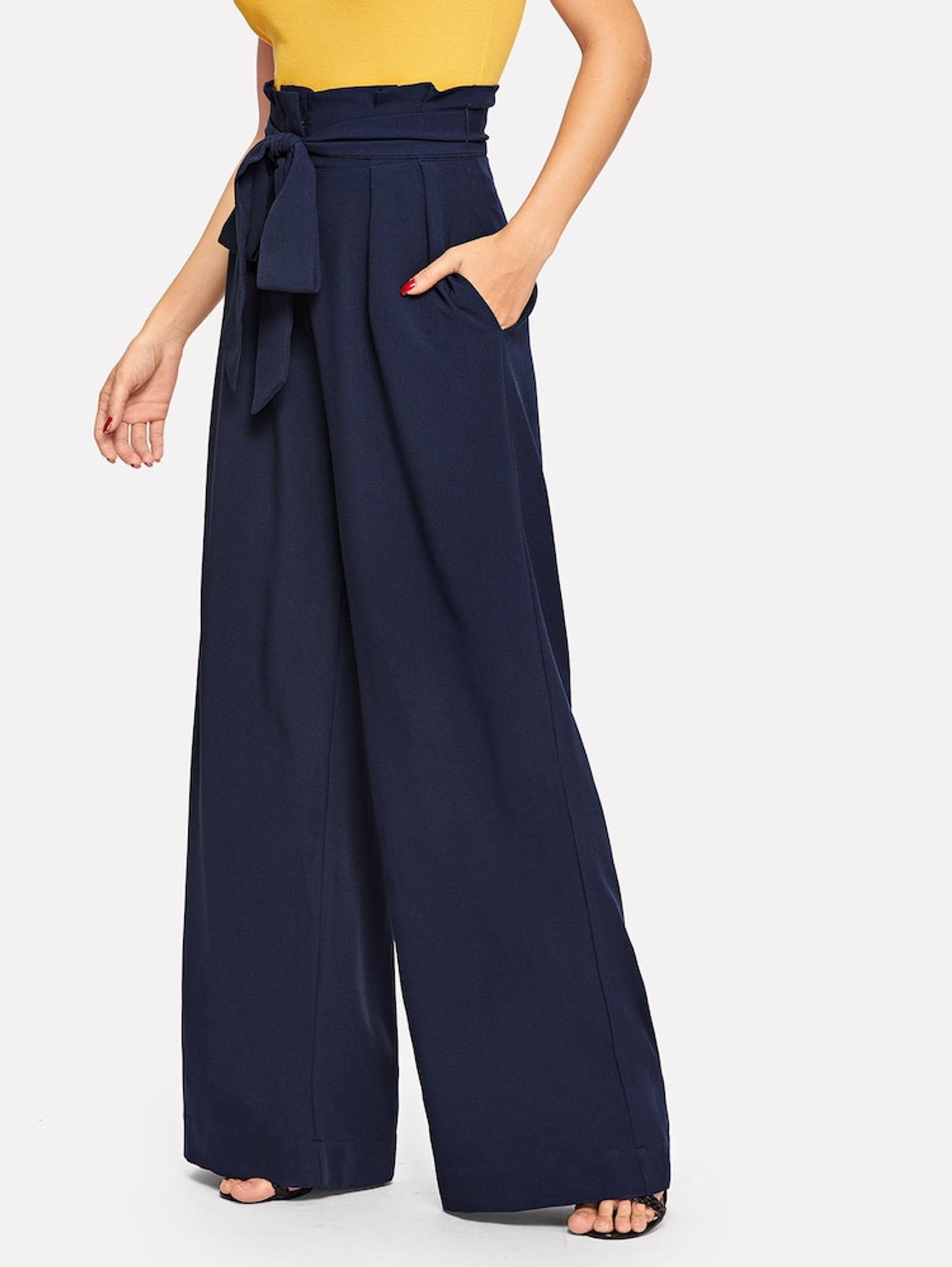 Fifth Avenue Georgette GTTWP17 Self Belted Extra Wide Leg Pants - Navy Blue