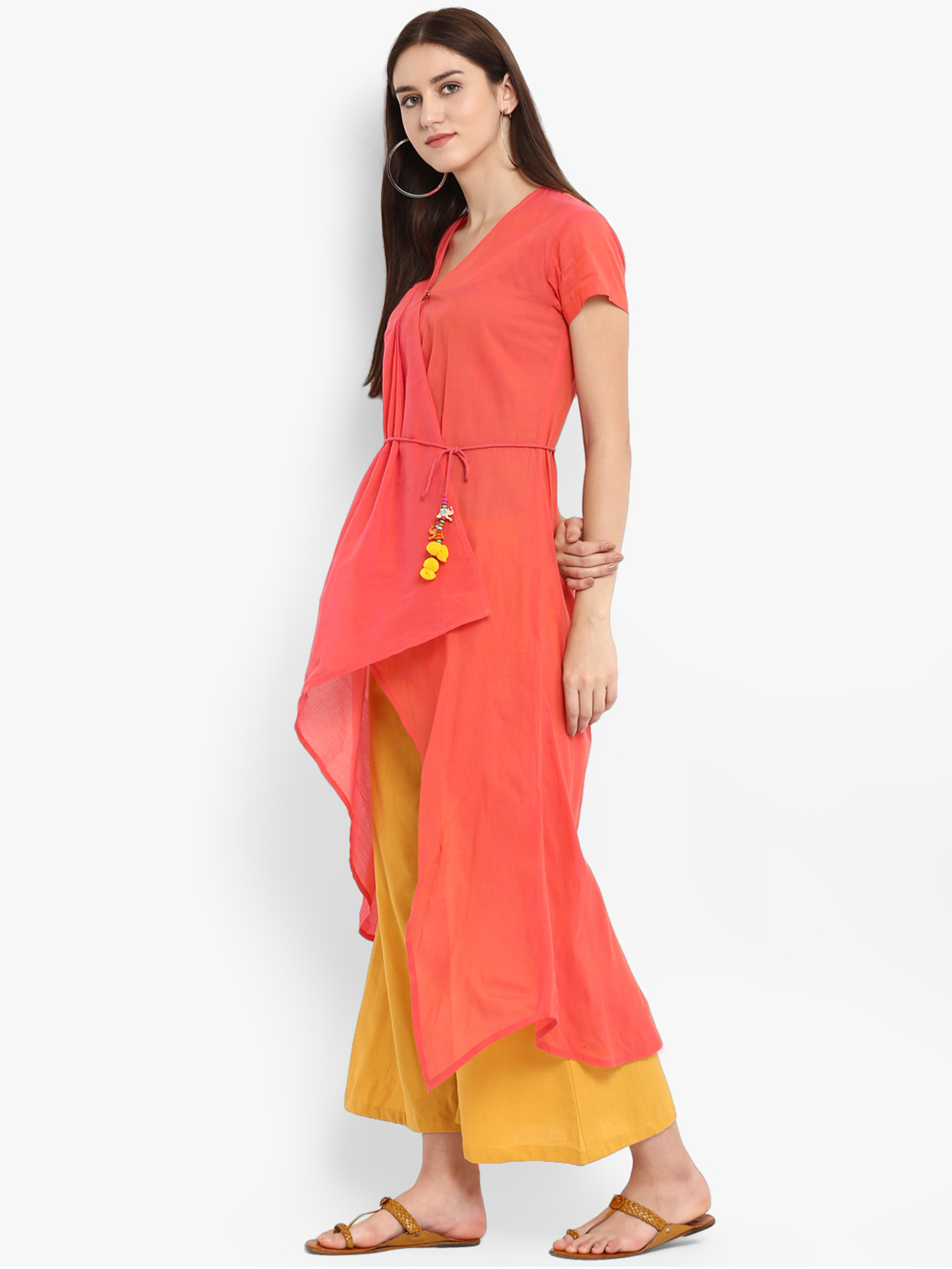 Fifth Avenue Women's TPS170 Overlap Detail Kurti and Palazzo Set - Pink and Yellow