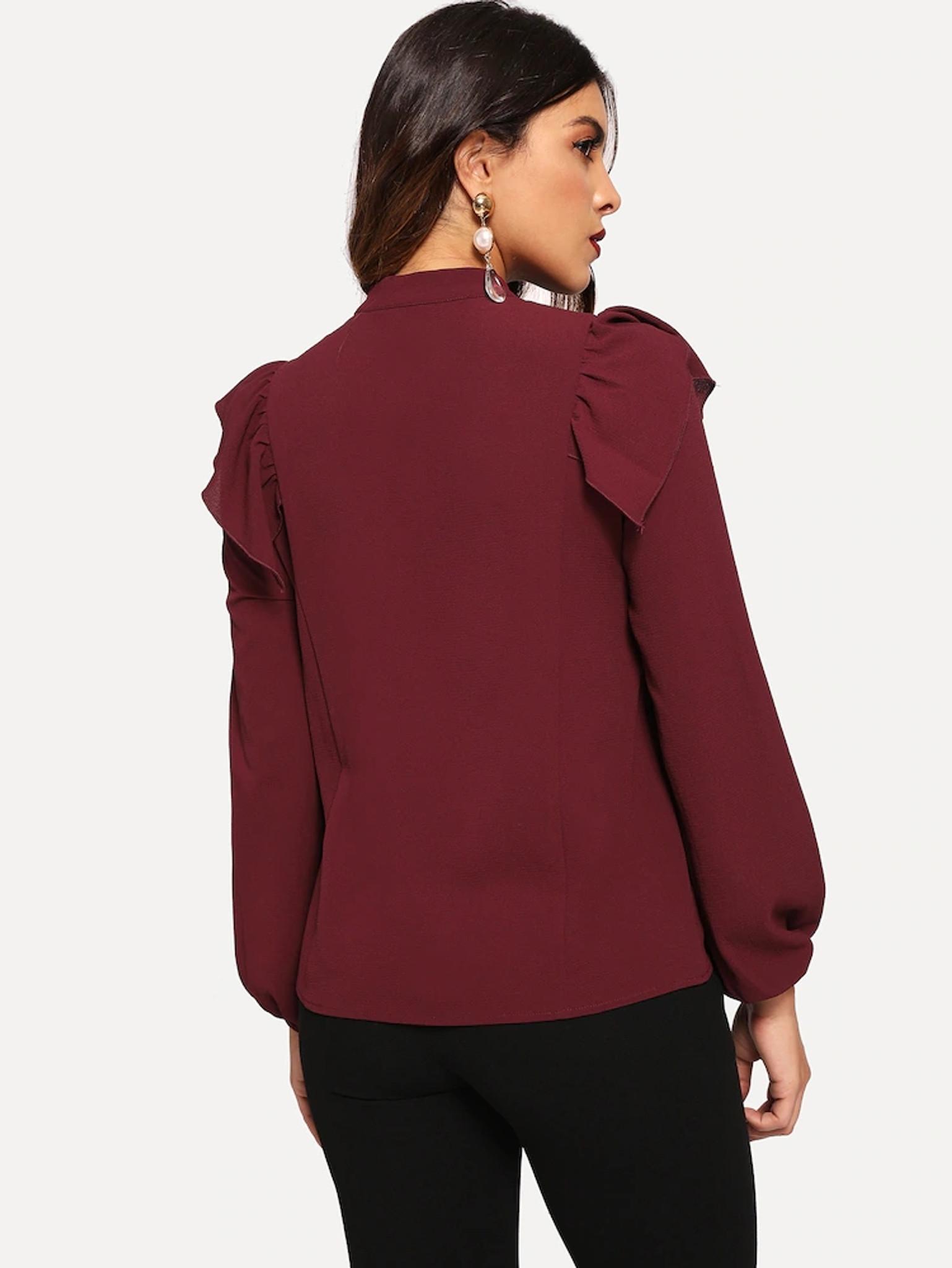 Fifth Avenue Women's UVA1317 Choker Neck Ruffle Detail Blouse - Maroon