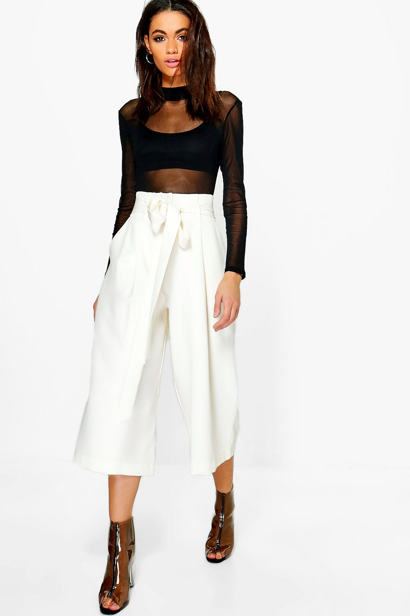 Fifth Avenue Georgette GTTWP18 Self Belted Box Pleated Culotte Pants - White