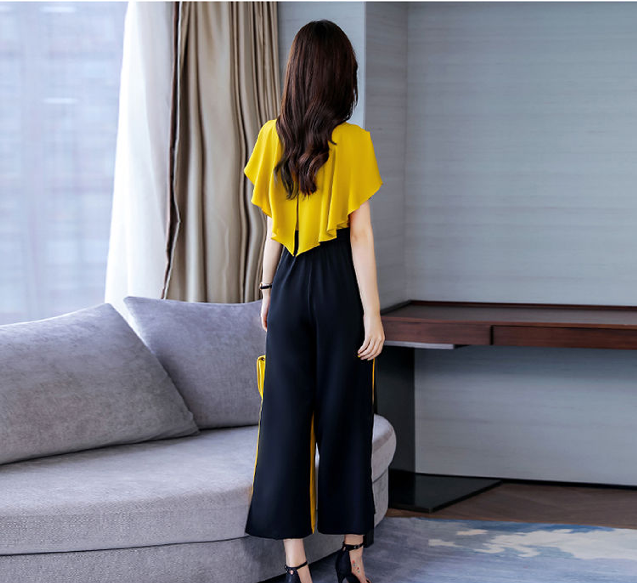 Fifth Avenue Color Block Top and Panel Pants 2 Piece Set TPS179 - Black and Yellow