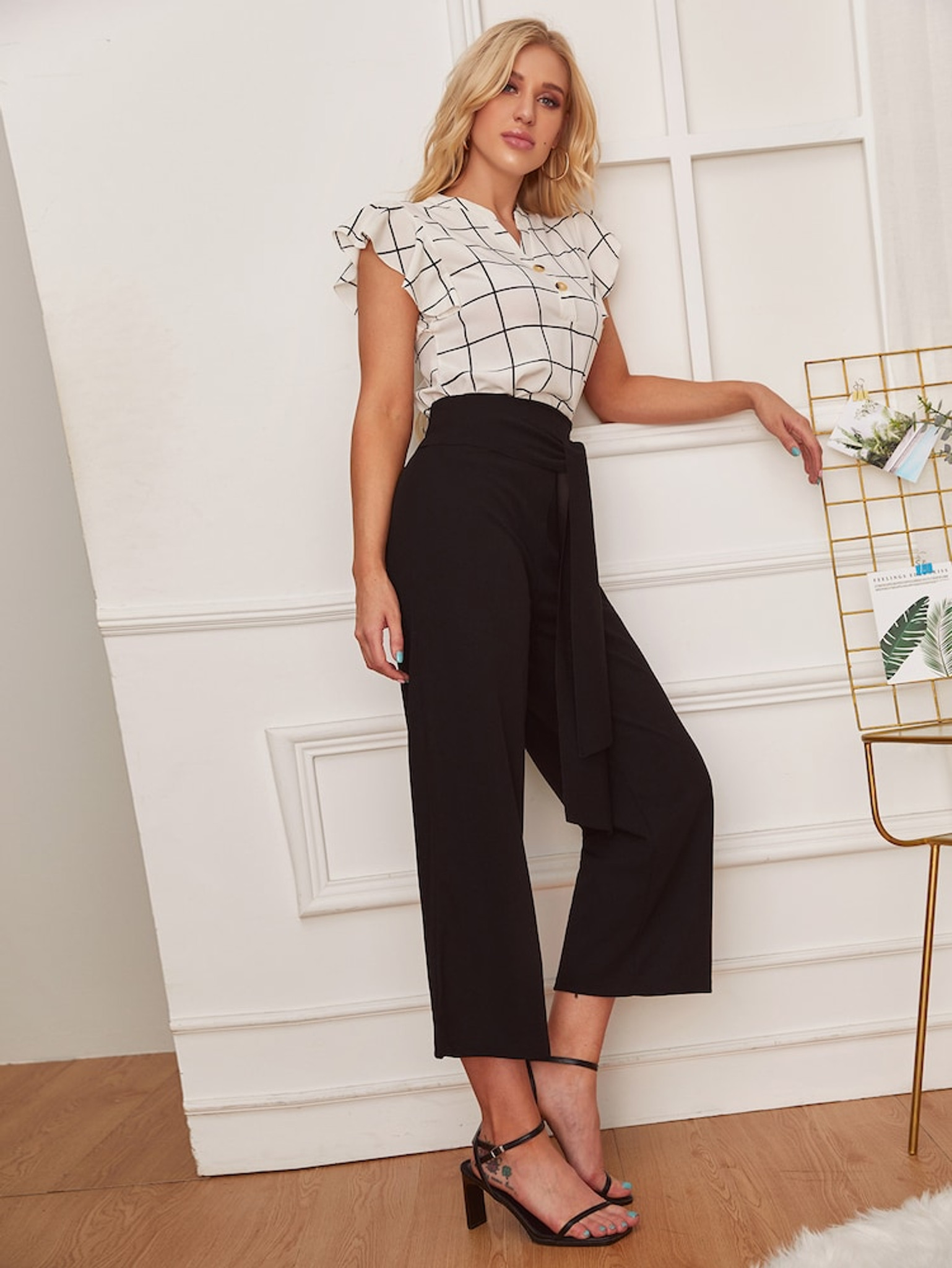 Fifth Avenue GTTWP20 Waist Belted Wide Leg Pants - Black