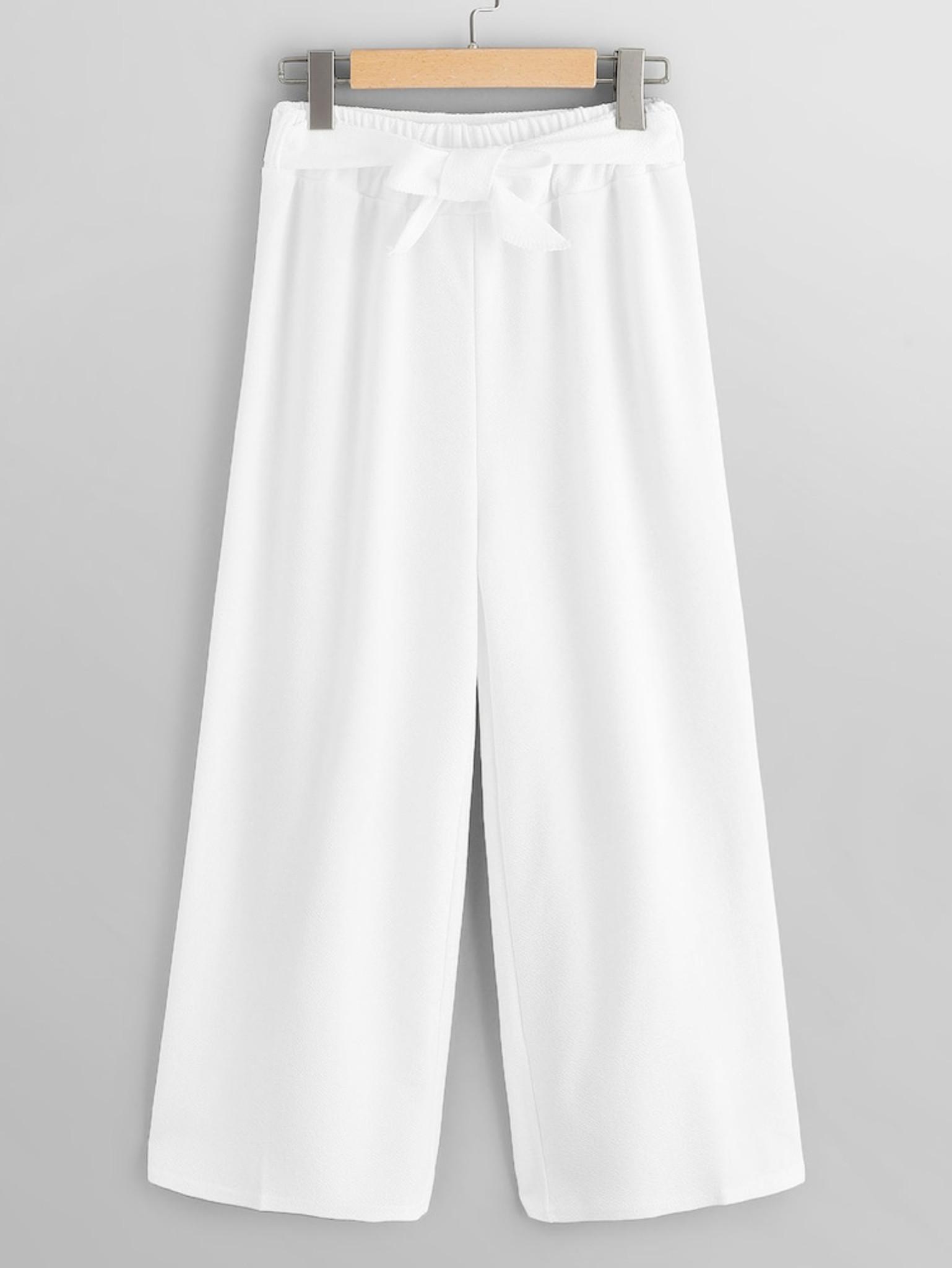 Fifth Avenue GTTWP21 Waist Belted Wide Leg Pants - White