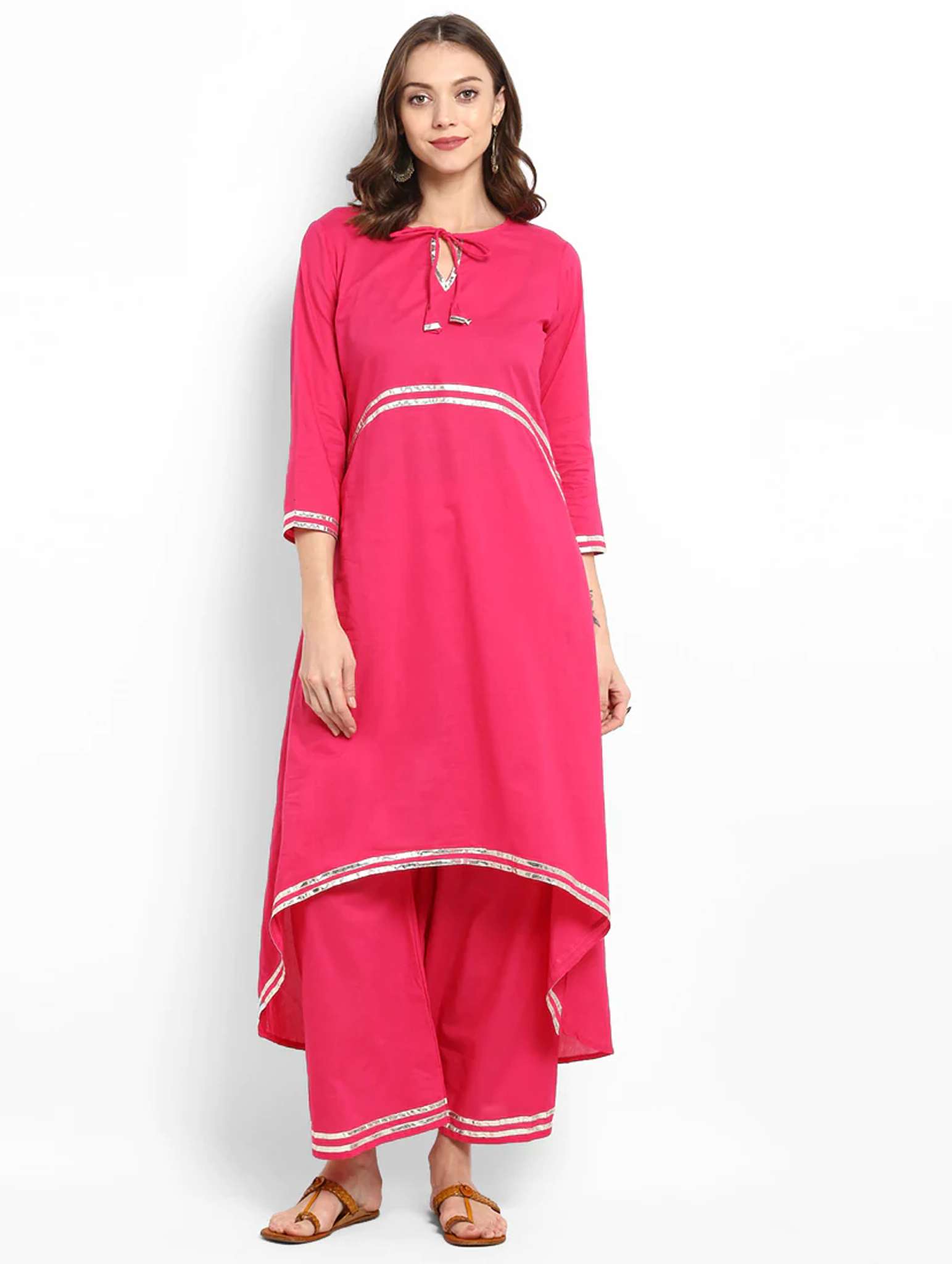 Lemon Tart Clothing Women's LTS11 Lace Detail Kurti and Pants Sets - Bright Pink