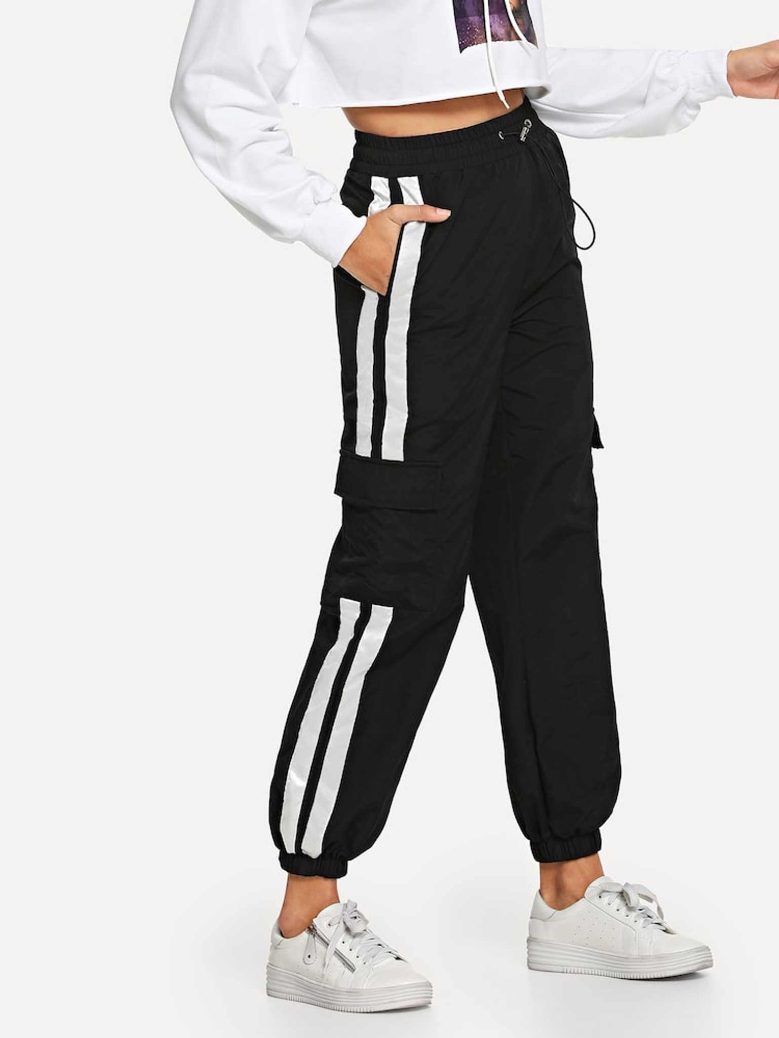 Women's HJ226 Side Contrast Striped Jogger Pants by Fifth Avenue - Black