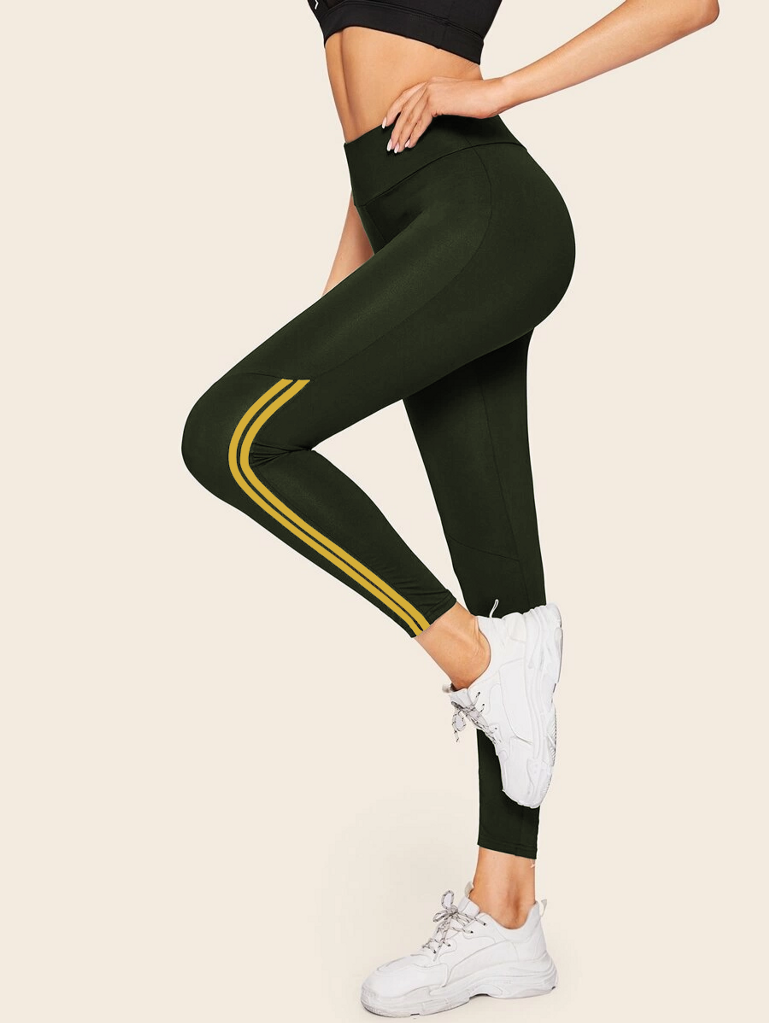 Fifth Avenue FTYP3 Contrast Ankle Striped Yoga Pants
