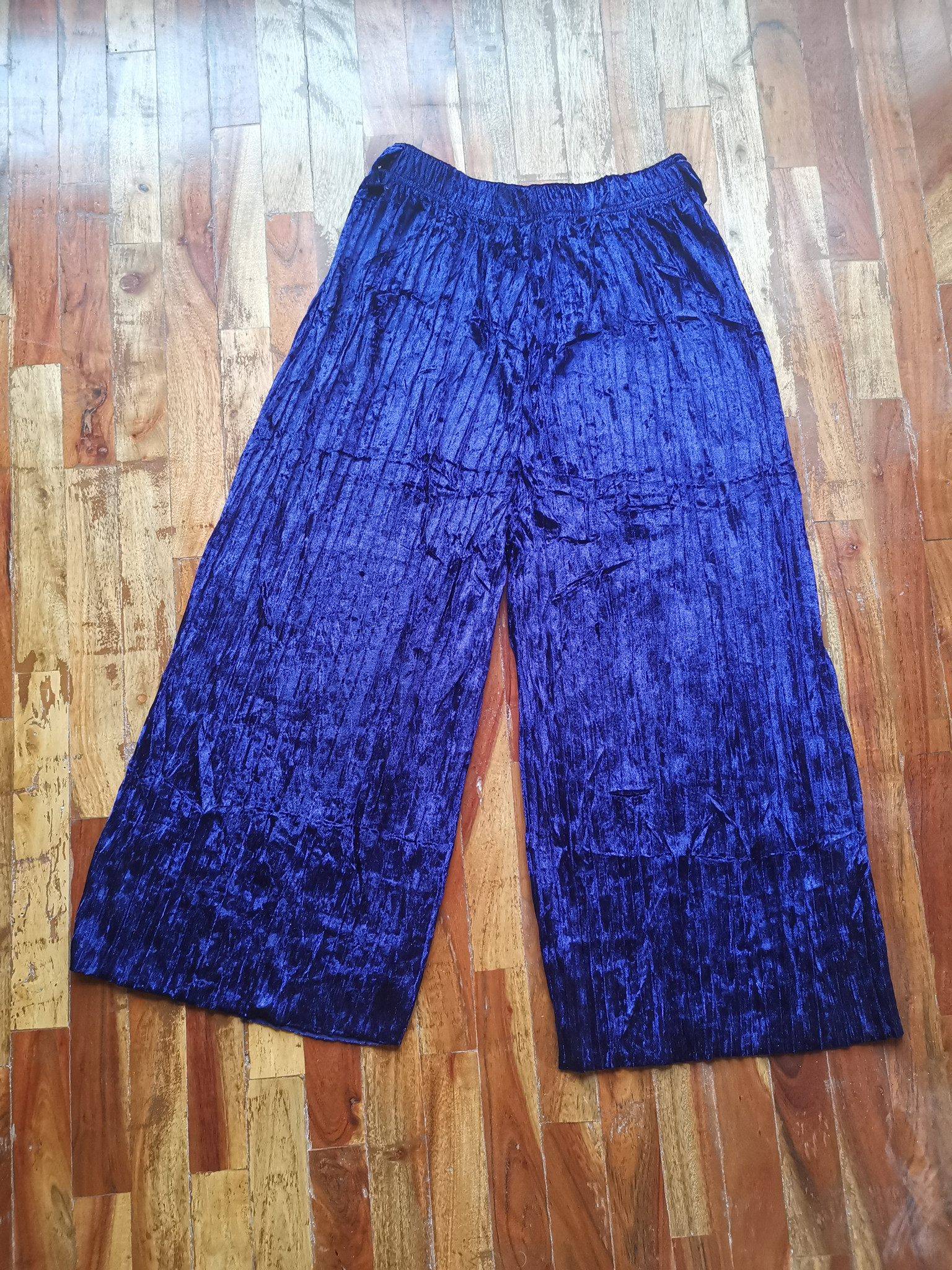 Fifth Avenue FAVVP3 Self Belted Crushed Velvet Pleated Wide Leg Culotte Pants