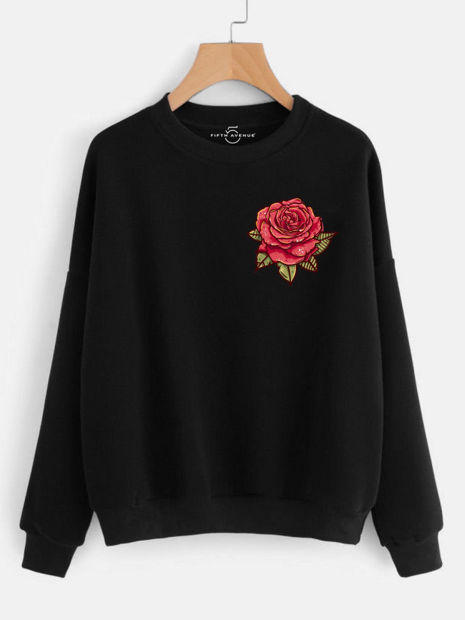 Fifth Avenue DIFT9 Pocket Rose Printed Sweatshirt - Black