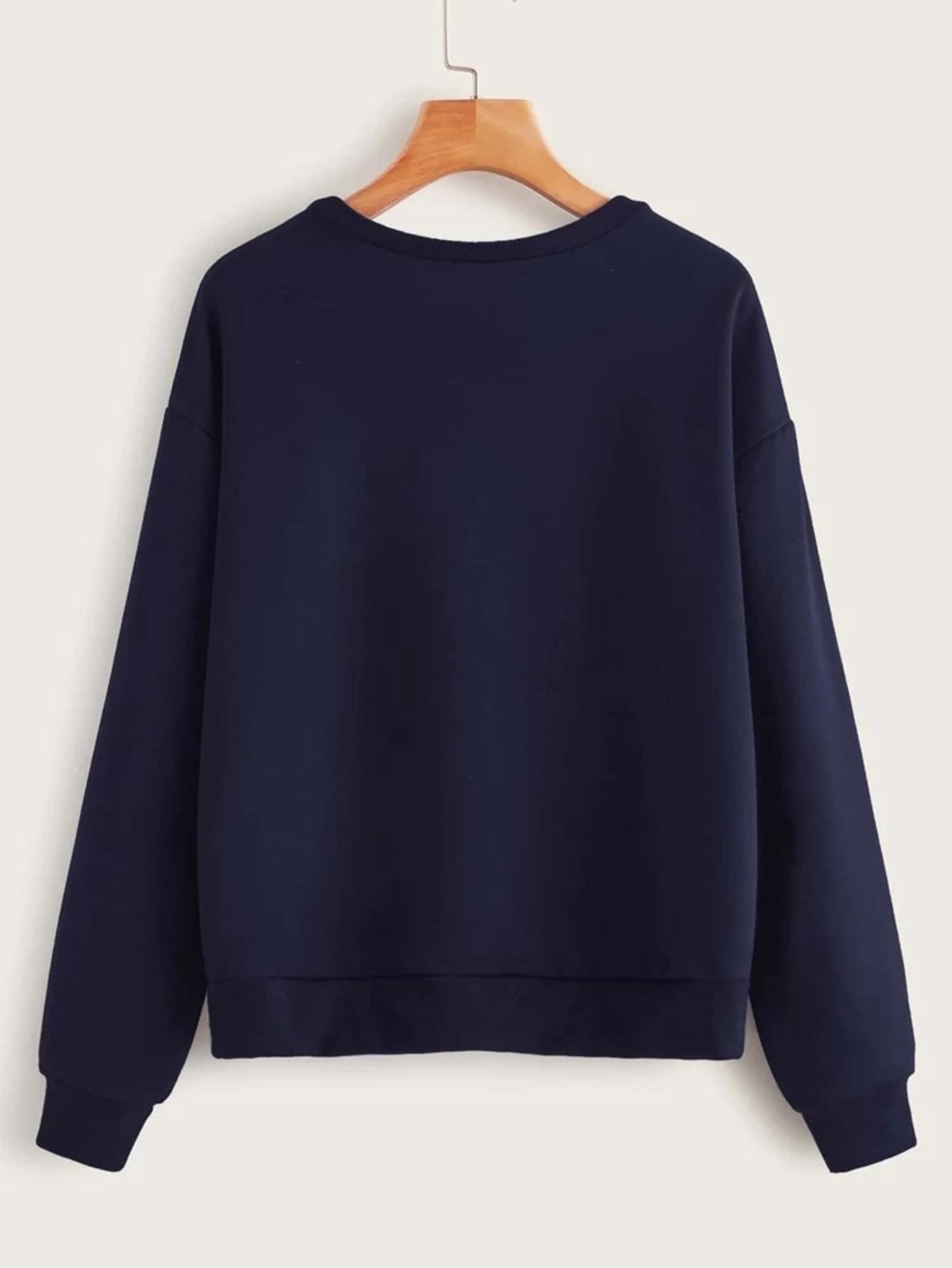 Fifth Avenue DIFT16 Wife Mom Boss Printed Sweatshirt - Navy Blue