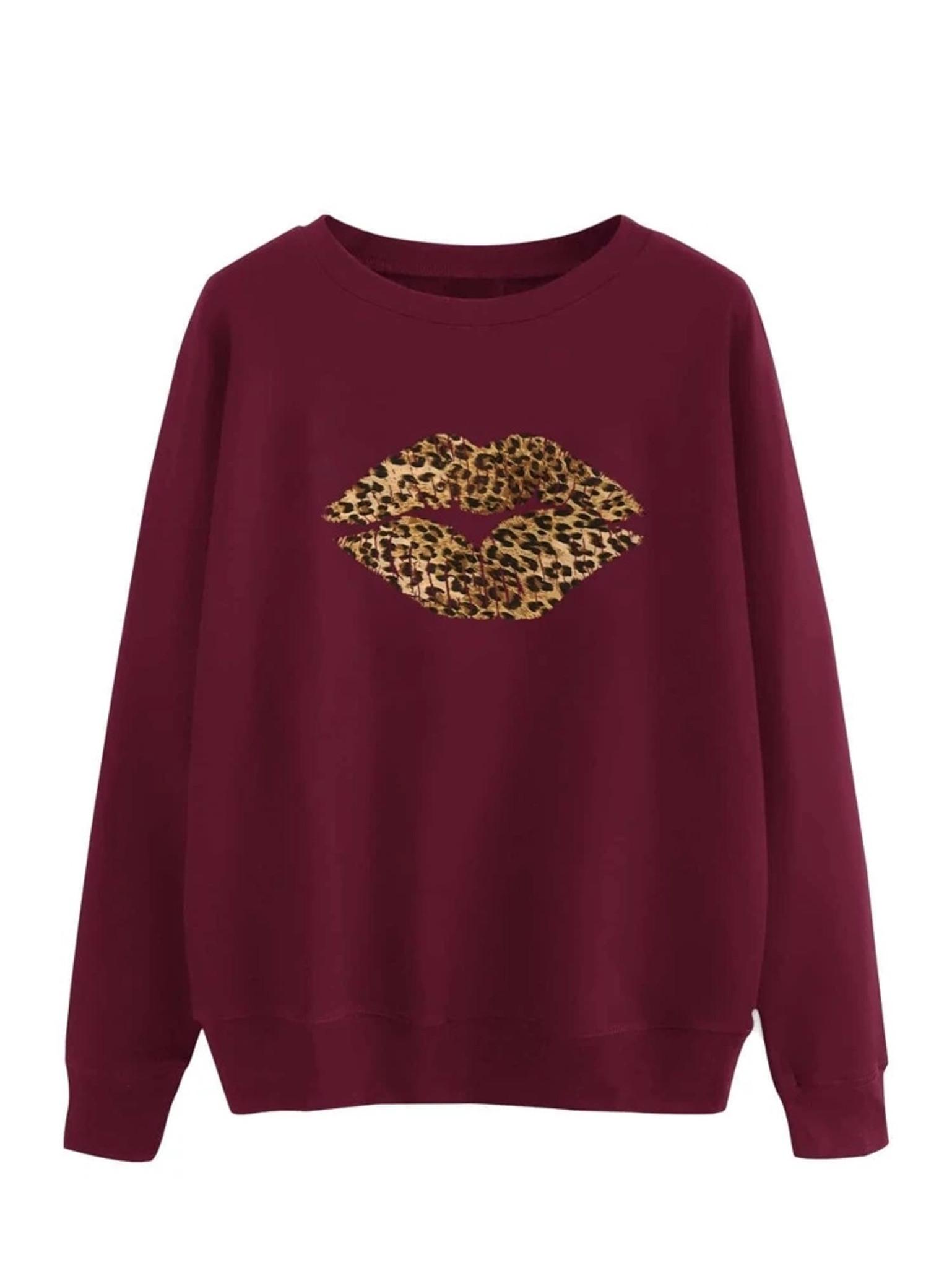 Fifth Avenue DIFT20 Leopard Lip Printed Sweatshirt - Maroon