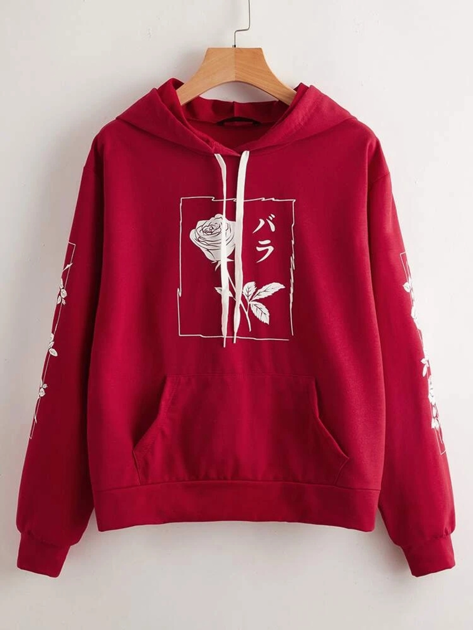 Fifth Avenue DIFT21 Japanese Florals Print Hoodie - Red