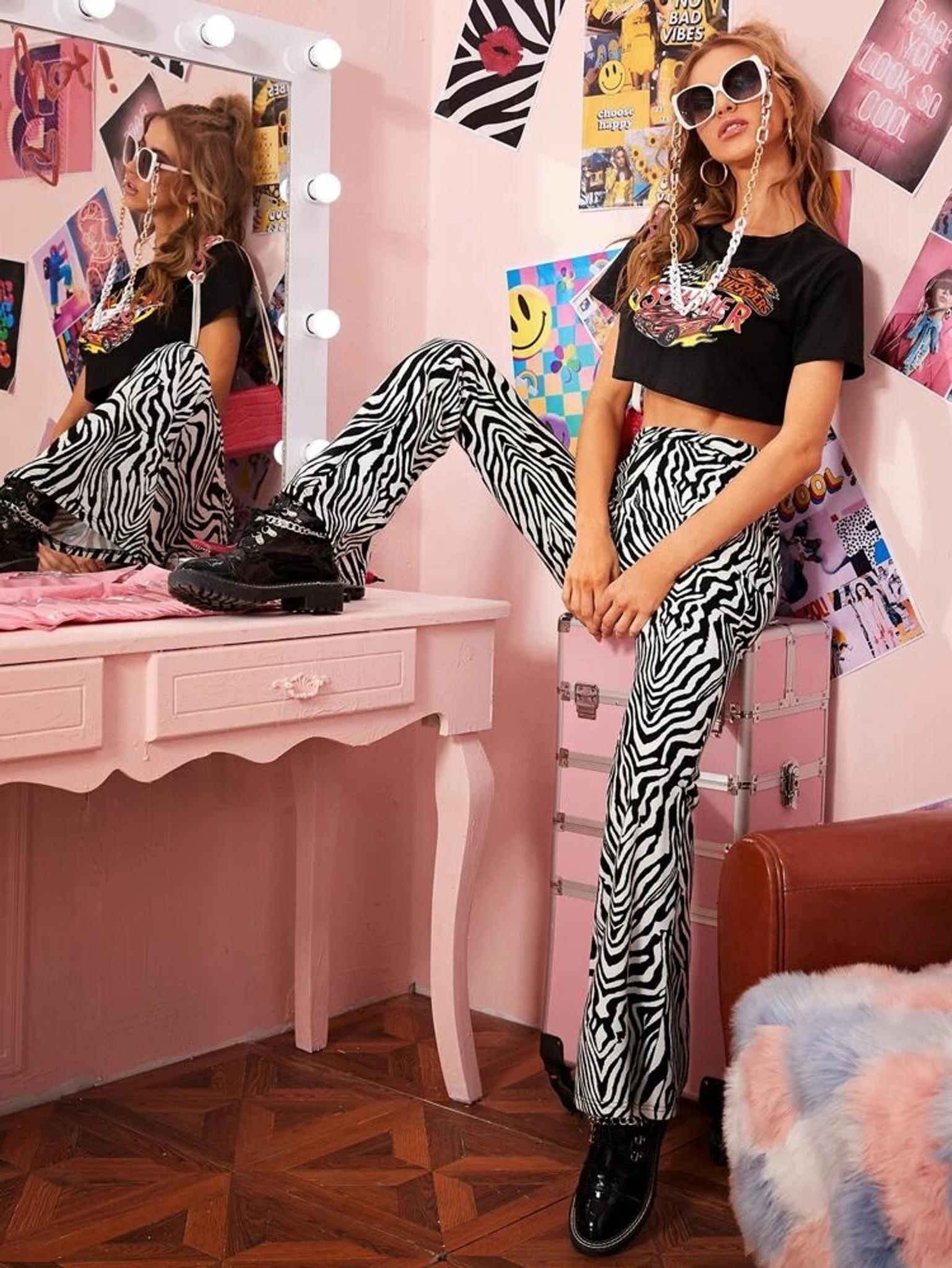 Fifth Avenue Georgette GTTWP30 Zebra Print Flared Pants