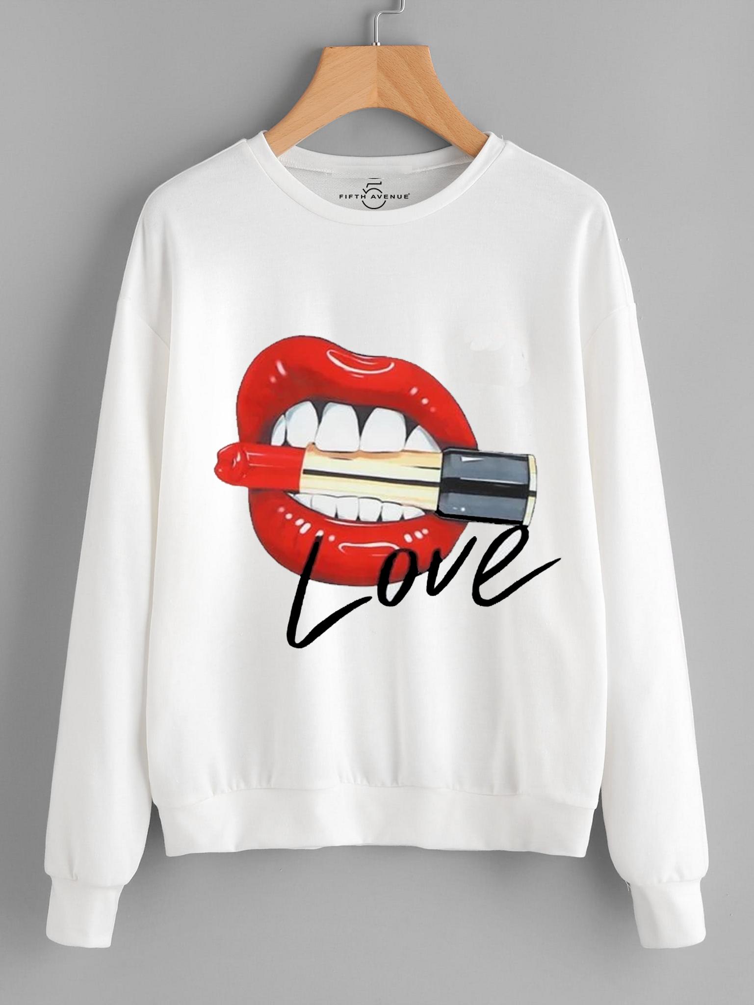 Fifth Avenue DIFT47 Love Lips Printed Sweatshirt - White