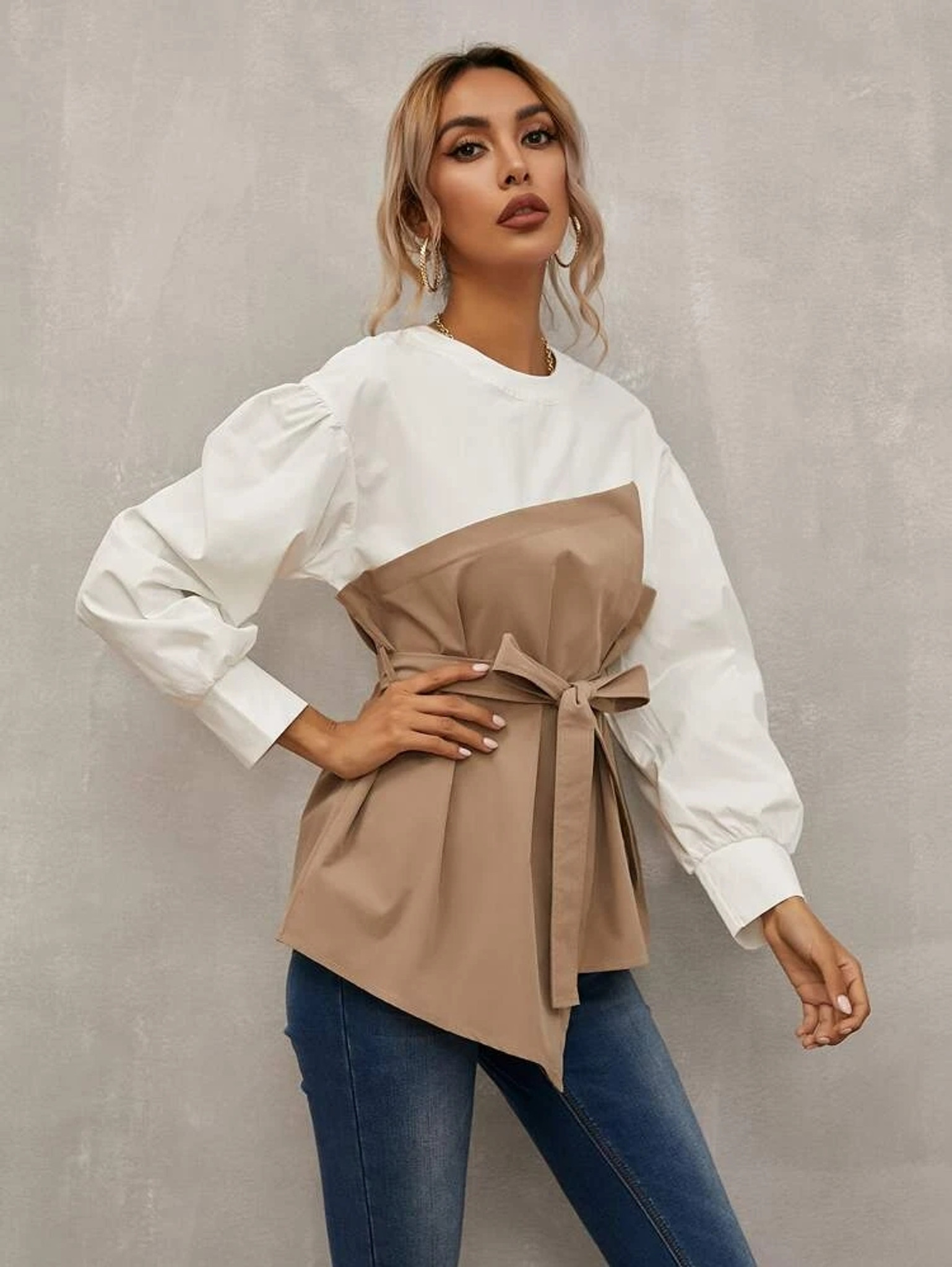 Fifth Avenue Womens Colorblock Stitched Western Top - FAWWT4