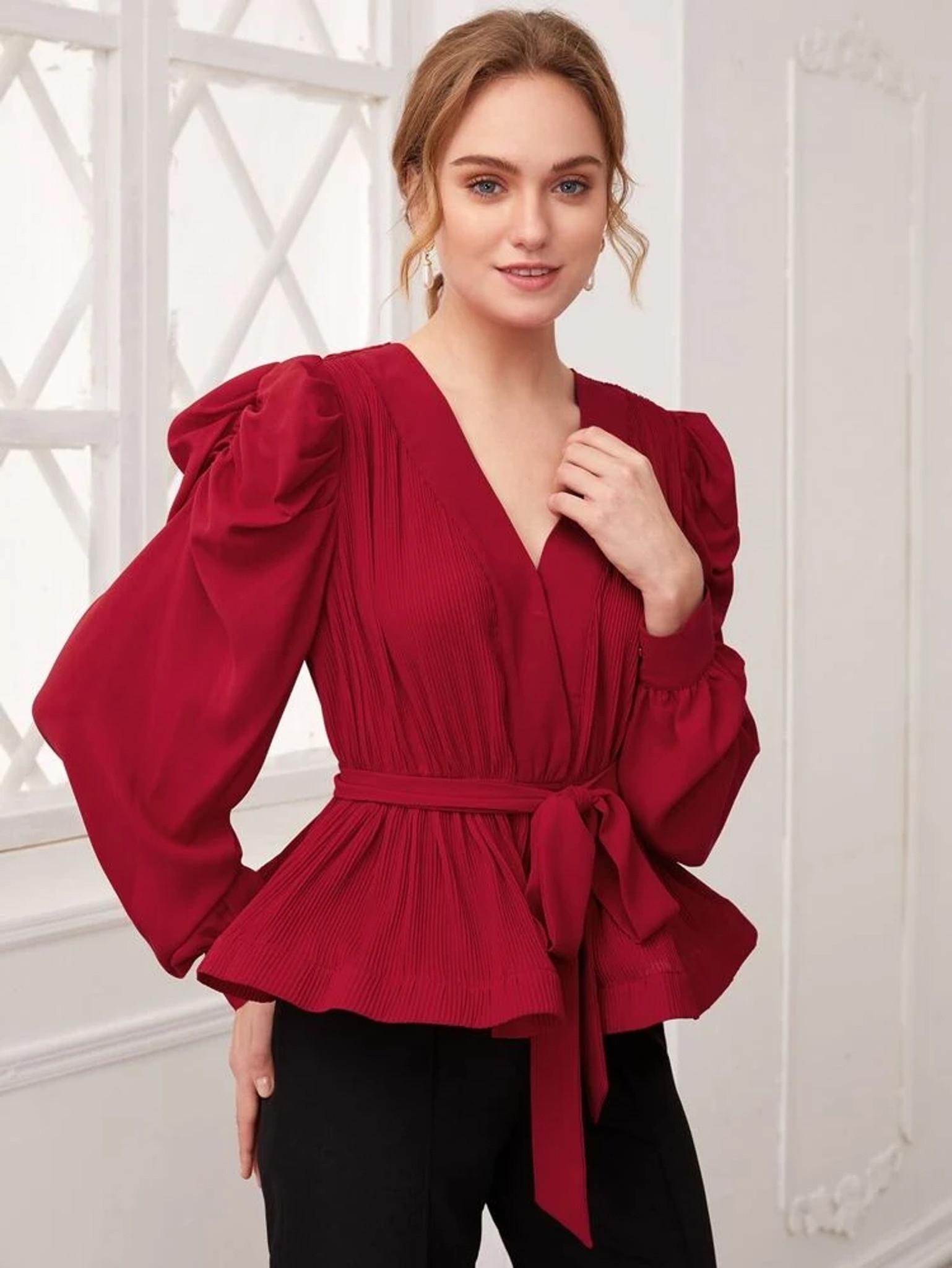 Fifth Avenue Womens Peplum Stitched Western Top - FAWWT7