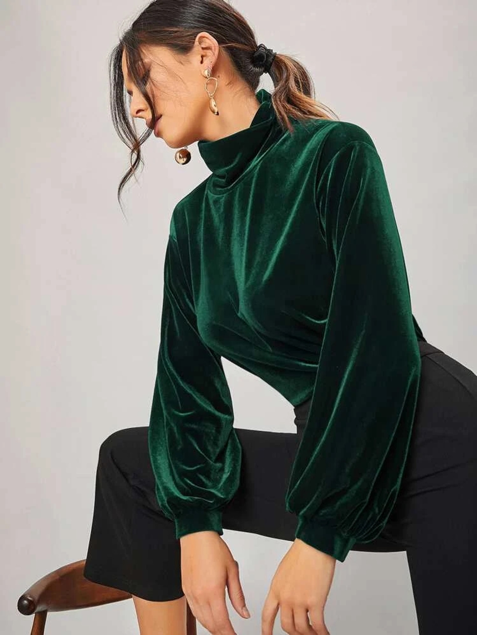 Fifth Avenue Womens High Neck Detail Velvet Stitched Western Top - FAWWT14