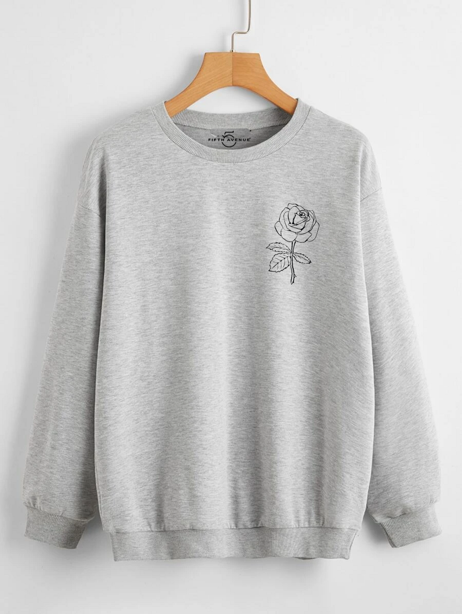 Fifth Avenue DIFT72 Rose Pocket Printed Sweatshirt - Grey