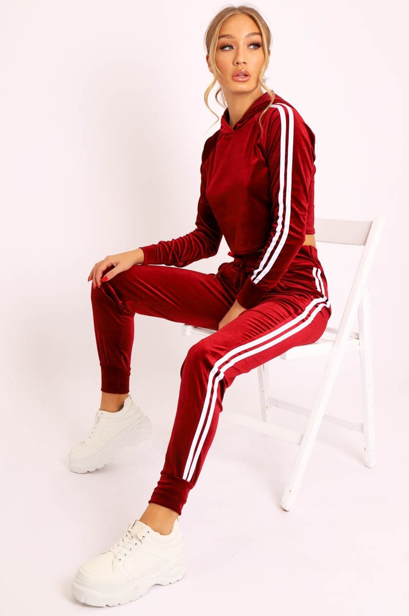 Fifth Avenue Womens Velvet Striped Hoodie and Jogger Pants Co- Ord Set FAVELC5 - Maroon