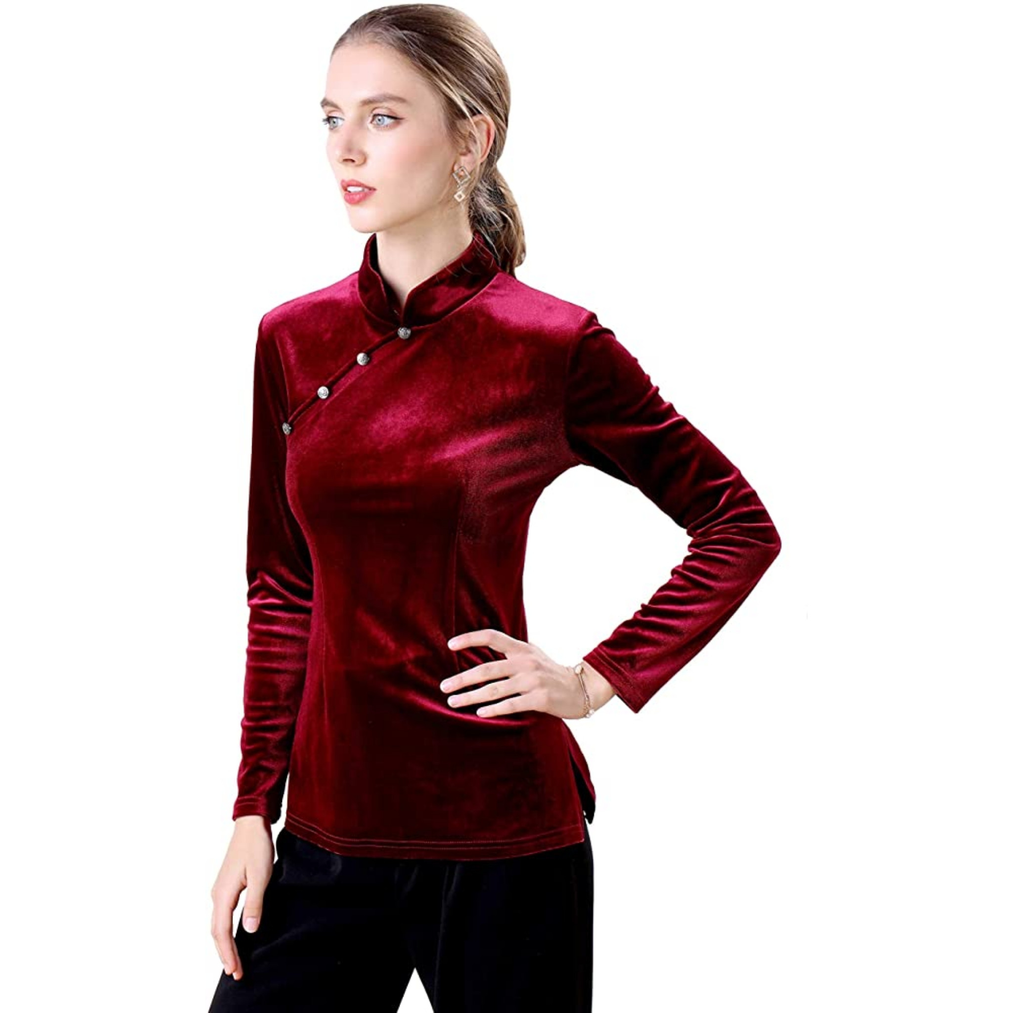 Fifth Avenue Womens Button Neck Detail Velvet Stitched Western Top - FAWWT16