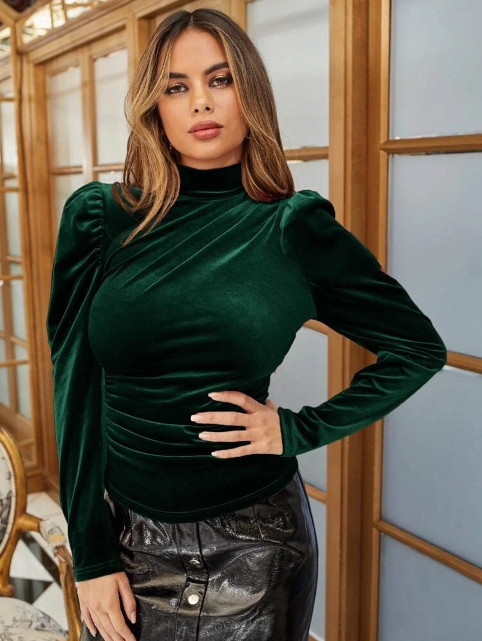 Fifth Avenue Womens Gigot Sleeve Detail Velvet Stitched Western Top - FAWWT23