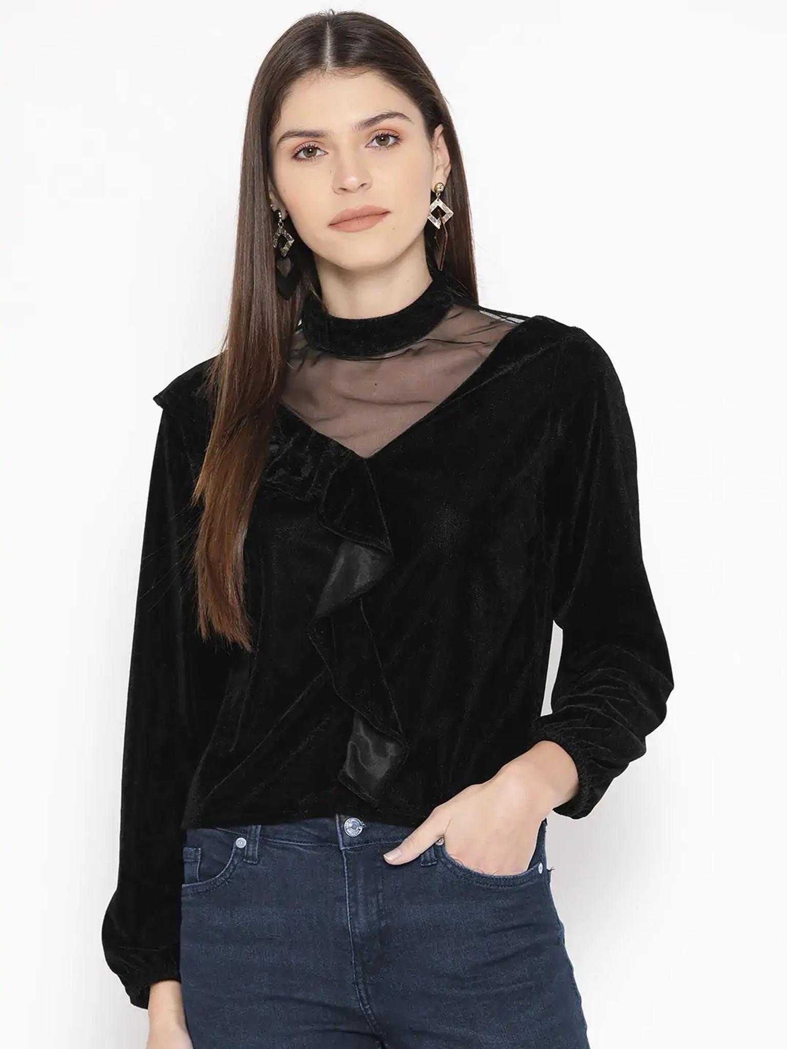 Fifth Avenue Womens Mesh Insert Detail Velvet Stitched Western Top - FAWWT24 - Black