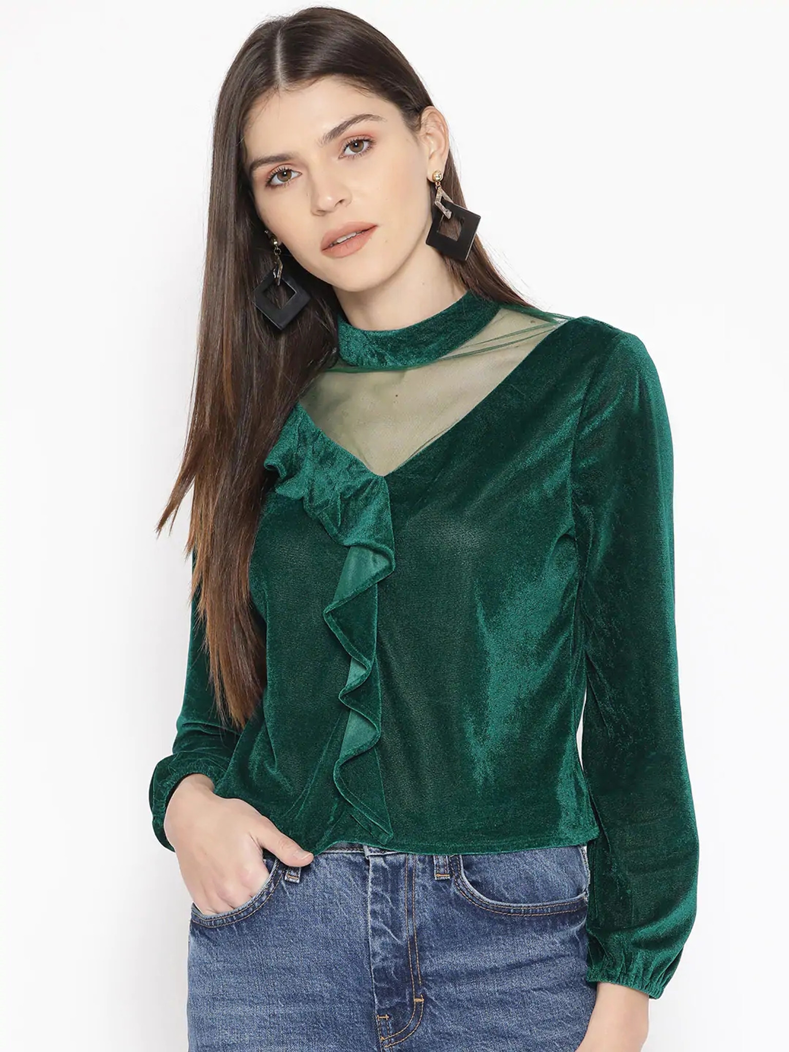 Fifth Avenue Womens Mesh Insert Detail Velvet Stitched Western Top - FAWWT24 - Green