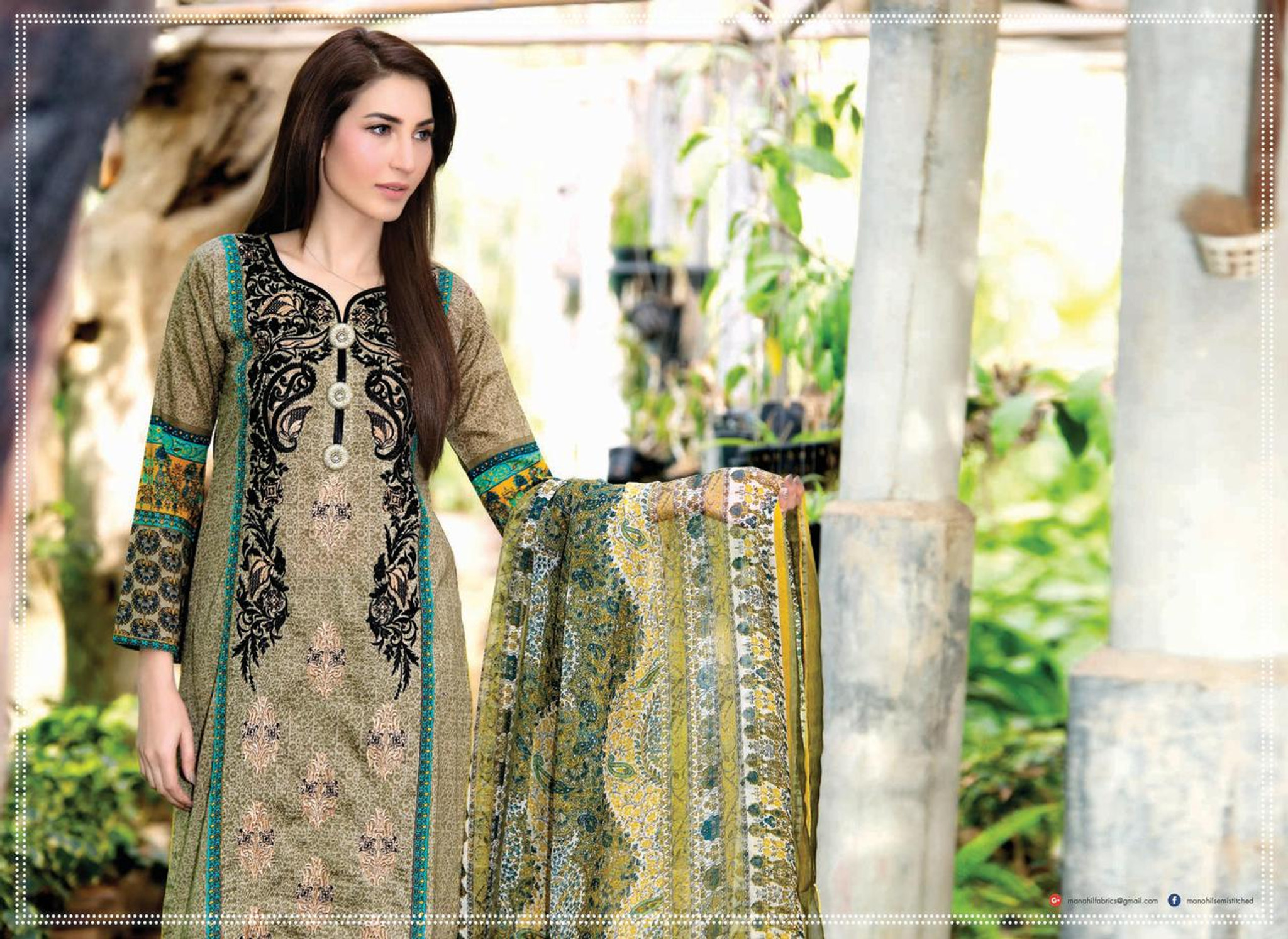 5df07beb1f Manahil Semi Stitched Collection Design M-001