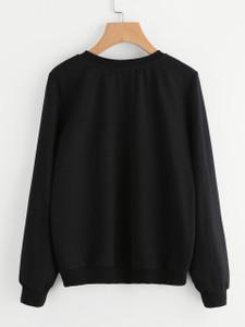 Fifth Avenue Happy Cat Printed Sweatshirt - Black