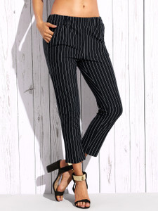 Fifth Avenue Elastic Waist Cotton Pin Stripe Pants - Black