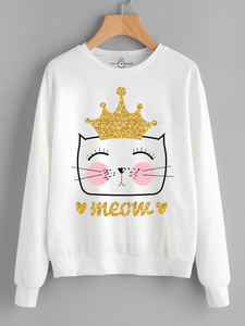 Fifth Avenue Crown Meow Printed Sweatshirt - White