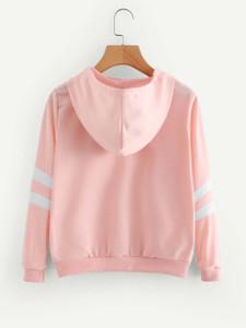 Fifth Avenue Rose Print JAVANA Varsity Sleeve Striped Hoodie - Pink