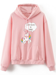 Fifth Avenue Don't Believe In Humans Print Hoodie - Pink