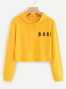 Fifth Avenue Cropped Babe Print Hoodie - Yellow