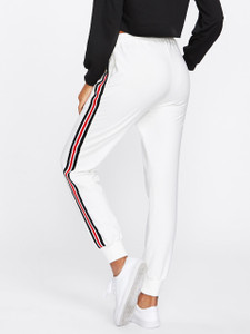 Fifth Avenue Women's MONE Striped Active Jogger Pants - White