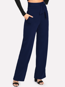 Fifth Avenue Women's NESS Tie Waist Pants - Navy Blue