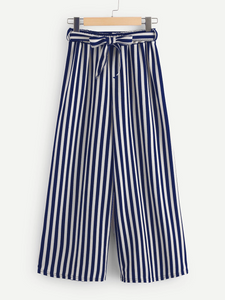 Fifth Avenue Viscose MOJA Stripe Tie-Waist Culotte Pants - Navy Blue and White