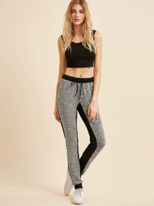 Women's Reiki Color Block Jogger Pants by Fifth Avenue - Black and Grey