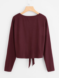 Fifth Avenue Women's MOJJ Bottom Knot Pearl Beaded Full Sleeve T-Shirt - Maroon