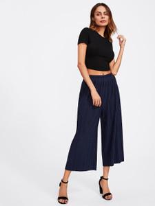 Fifth Avenue Womens Georgette JIMZ Pleated Pants - Navy Blue