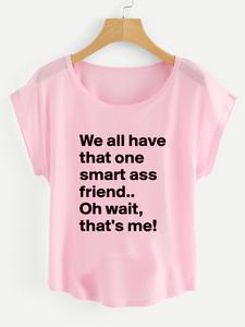 Fifth Avenue Women's Smart Friend Me Printed Dolman T-Shirt - Pink